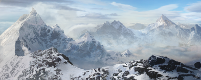 Mountain matte painting